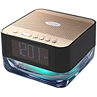 GRANDEY Wireless bluetooth speaker with colorful light bedside lamp and clock alarm,radio, playing with Micro-sd, audio input (black-golden)