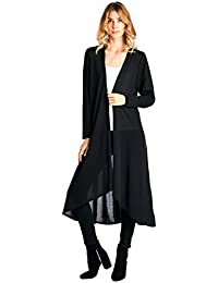 Basic Knit Solid Long Sleeve Maxi Cardigan (S-3X) - Made In USA