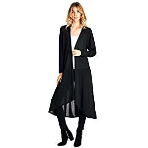 12 Ami Basic Knit Solid Long Sleeve Maxi Cardigan (S-3X) – Made in USA