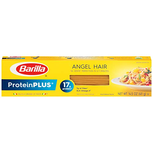 Barilla ProteinPlus Multigrain Pasta, Angel Hair, 14.5 Ounce (Pack of 12), Packaging may vary