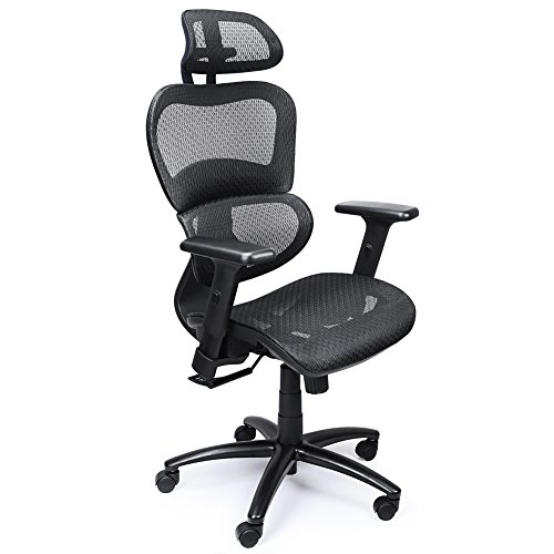 mysuntown Ergonomic Mesh Office Chair with High Back Support, Adjustable Headrest & Adjustable Armrest Lumbar Support, Comfortable Desk Executive & Task Chair for Home Office Conference(330lbs)