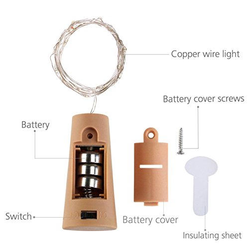 LoveNite Wine Bottle Lights with Cork, Warm White 10 Pack Battery Operated LED Cork Shape Silver Copper Wire Colorful Fairy Mini String Lights for DIY, Party, Decor, Christmas, Halloween,Wedding by LoveNite (Image #2)