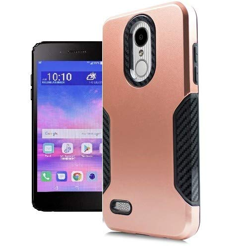 - LG Rebel 4 Case, LG (Rebel 4) 4G LTE Case, at&T Prepaid LG Phoenix 4 Case, Phone Case for Straight Talk LG Rebel 4 Prepaid Smartphone, Dual Layer Hard Cover Case Black Carbon Fiber Design (Rose Gold)