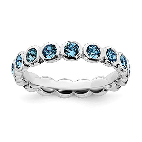 (925 Sterling Silver December Swarovski Band Ring Size 7.00 Stackable Birthstone Gemstone Blue Topaz Fine Jewelry Gifts For Women For)