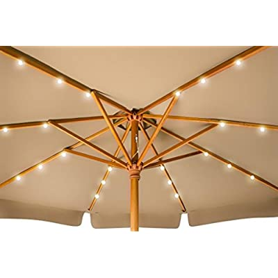 Trademark Innovations 9' Solar Powered LED Lighted Wood Frame Patio Umbrella - With Scalloped Edge Top - (Tan) : Garden & Outdoor