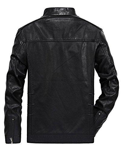 Casual Hombre Abrigo Motocicleta Calor Negro Cremallera Cuero Espesar Mangas Chaqueta Largas PwSq6UW7