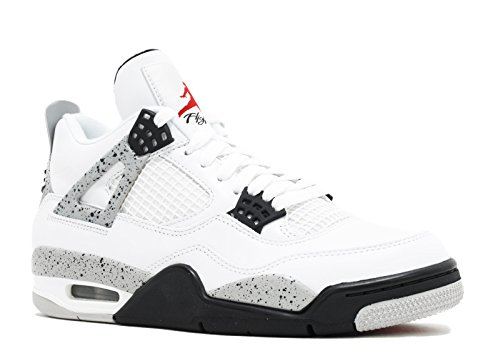 "Jordan Air 4 Retro OG ""Cement"" Men's Shoes White/Fire Red/Black/Tech Grey 840606-192 (10.5 D(M) US) (Nike Grey Red Tops And High)"