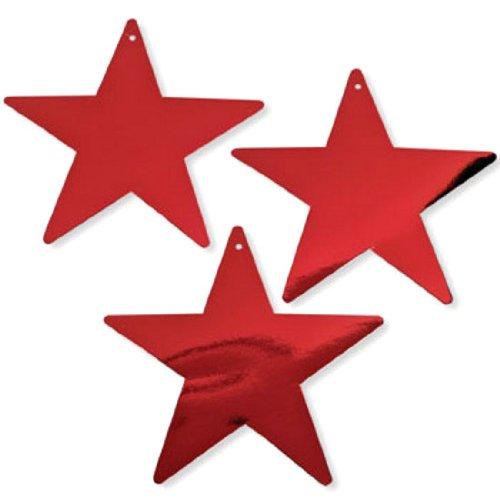 "9"" Red Cardboard Star Decorations (1 dz)"