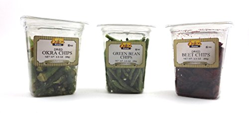 Setton Farms Veggie Chips 3-Flavor Variety: One 3.5 oz Tub Each of Okra, Beet, and Green Bean (3 Items Total) by Black Tie Mercantile