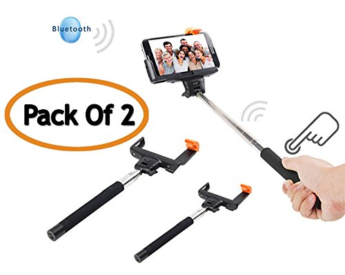 Selfie Stick QuickSnap Pro 3-In-1 Self-portrait Monopod Extendable Wireless Bluetooth Selfie Stick with built-in Bluetooth Remote Shutter With Adjustable Phone Holder for iPhone 6, iPhone 6 Plus, iPhone 5 5s 5c 6 6+, Samsung Galaxy S3,S4,S5,S6 EDGE,Note 4,And All similar Models ( PACK OF 2 )