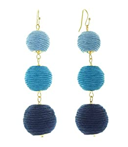 INPINK Fashion Jewelry Riviera Ombre Thread Ball Trio Earrings
