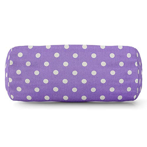 Majestic Home Goods Lavender Small Polka Dot Indoor Round Bolster Pillow 18.5