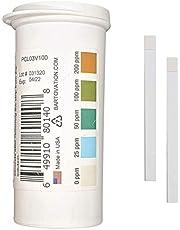 Restaurant Chlorine Sanitizer Plastic Test Strips, 0-200 ppm [Moisture Wicking Vial of 100 Strips]