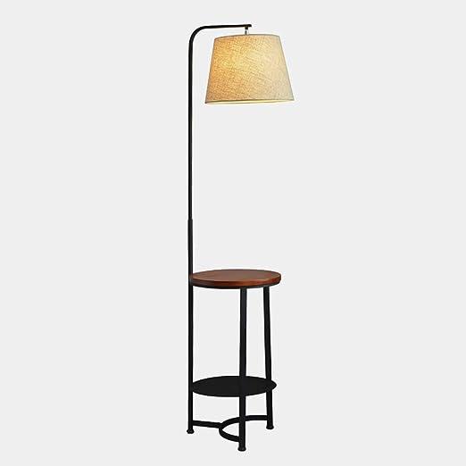 Lámpara de pie con estantes de Madera, luz de Piso de Madera con Mesa, mesita de Noche for el Dormitorio, Mesa Auxiliar for el sofá de la Sala de Estar, Color Nogal:
