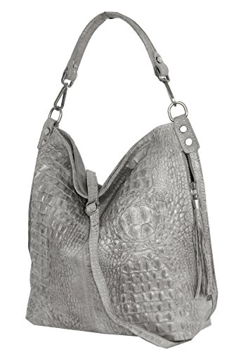 Cognac bolso croco hombro 2107 bolso Italy mujer de Mod de Shopper cuero awTSP6x