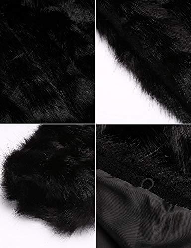 Laterali Caldo Invernali Donna Schwarz Transizione Di Cappotto Giacca Sintetica Tasche Lanoso Confortevole Colore Puro Vintage Pelliccia Giubotto Lunga Manica Cardigan q1OSwtE6
