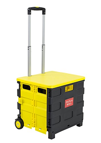 Mount-It! Rolling Utility Cart, Folding and Collapsible Hand Crate with Lid on Wheels, 55 Lbs Capacity