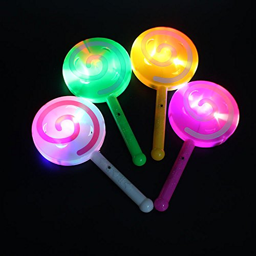 Lanlan Fashion Light-up LED Lollipop Glow Stick Toys Flashing Fairy Wand Light with Bell Birthday Party Decoration Random Color Random Color