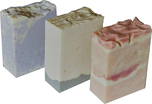 Floral-3 handmade soaps(lilac,gardenia and rose) with sunflower oil, organic ingredients, cold process,artisan, natural, vegan, cruelty free from Petal Handmade Soaps