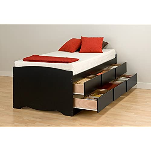 black tall twin platform storage bed with 6 drawers