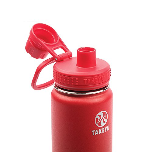 Takeya Actives Insulated Stainless Water Bottle with Insulated Spout Lid, 24oz, Fire