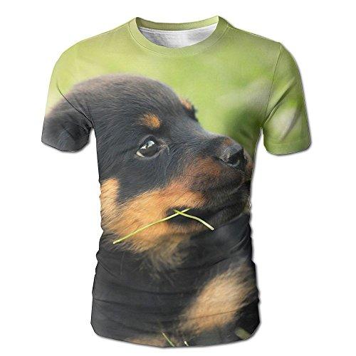 Dog Shark Costume Uk (Mens Little Rottweiler 3D Graphic T-Shirt Weird Tees X-Large)