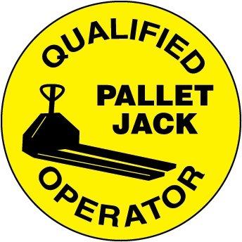 NMC HH85 2'' x 2'' PS Vinyl Hard Hat Emblem w/Legend: ''Qualified Pallet Jack Operator'', 12 Packs of 25 pcs