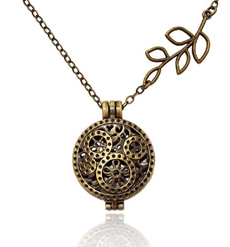 (Clock Gear with Branch Necklace Bronze/Brass Tone Aromatherapy Essential Oil Diffuser Locket)