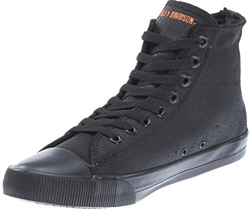 Harley Davidson Baxter Moto Hombre Zapatos Alto Sneaker Negro Naranja Piel Cuero