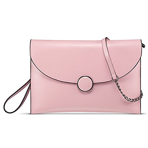 CHITUMA (New Fashion) Women's Luxury Genuine Leather Classical Evening Party Clutch Bag Shoulder Bag Simple Bag Wallet Handbag (Large, Pink)