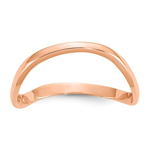 - JewelrySuperMartCollection 14k Rose Gold Wave Fashion Thumb Ring - Size 6.5