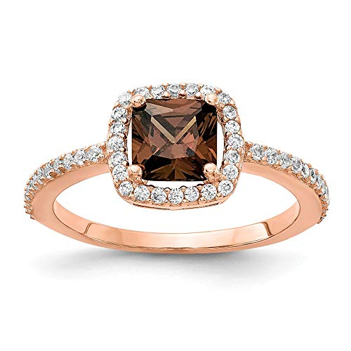 Cheryl M Sterling Silver Rose Gold-plated Brilliant-cut Cocoa CZ Ring Size ()
