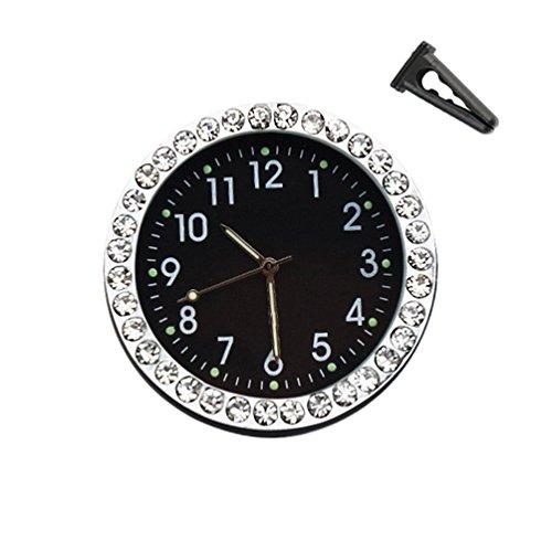 idain Car Dashboard Clock - Mini Vehicle Clock Decoration Air Vent Cilp (Black, Point Luminous + White)