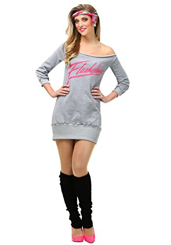 Women's Flashdance Logo Costume with Gray Sweatshirt, Headband, Leg Warmers