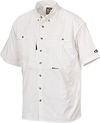 Drake Cotton Stay Cool Mens Wingshooter Short Sleeve Shirt (White)