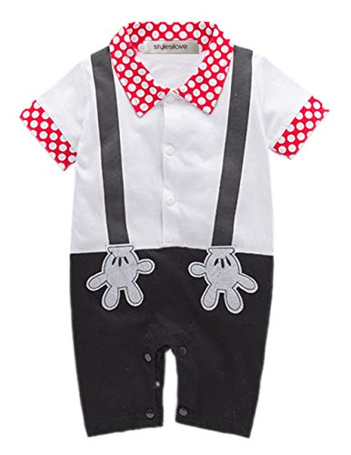 stylesilove Baby Boy Mickey Mouse Faux Suspender Costume Romper (95/18-24 Months) White
