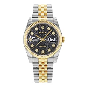 Best Epic Trends 41ha6hORtEL._SS300_ Rolex Oyster Perpetual Datejust 36 Black Set with Diamonds Dial Stainless Steel and 18K Yellow Gold Jubilee Bracelet