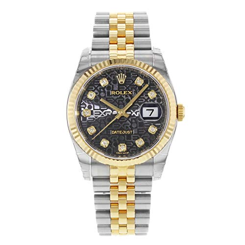 (Rolex Oyster Perpetual Datejust 36 Black Set with Diamonds Dial Stainless Steel and 18K Yellow Gold Rolex Jubilee Automatic Mens Watch 116233BKJDJ)