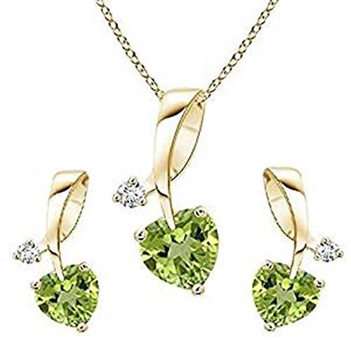Lilu joyas de la mujer y las niñas 14K chapado en oro plata de ley 925lámpara de techo colgante con forma de corazón Peridot y corte redondo CZ
