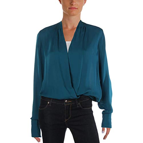Elie Tahari Womens Jade Shelly V-Neck Blouse Bodysuit Blue XS - Tahari Silk Suit