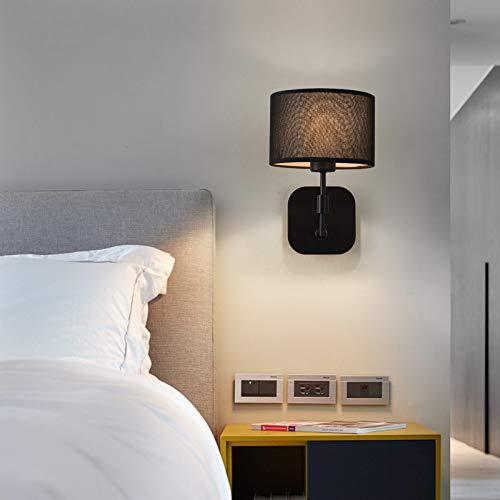 Andre Home Moderne kreative Schlafzimmerzimmer-Wandlampe der minimalistischen Gewebeschlafzimmer-Nachtwandlampe kreative (Farbe   schwarz)