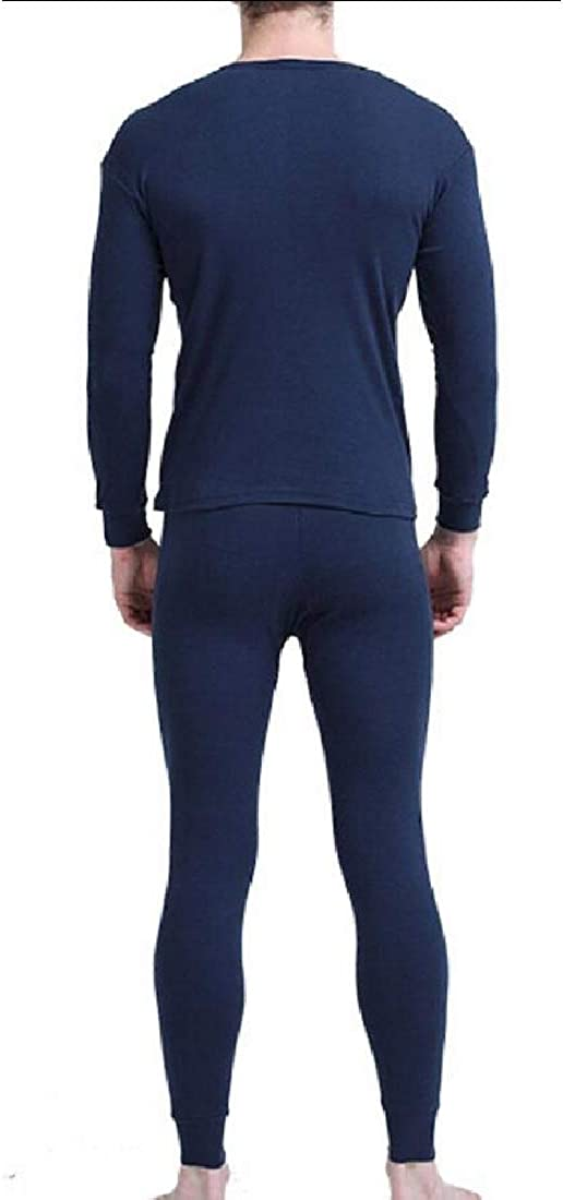 heymoney Men Skinny Solid Crew Neck Long Autumn Winter Thermal Underwear Set