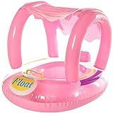 Boia Bote Bebê Cobertura Fralda Infantil Inflável Proteção PARA O SOL BabyBoat com guarda-sol para bebê crianças cor rosa