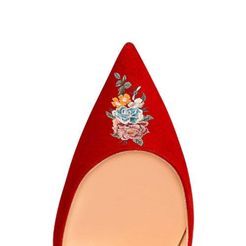 Toe Pumps 15 Red FSJ Party Stilettos Size On for Pointed Basic Dress US Women 4 Heels 3 High Slip qxztAwxR