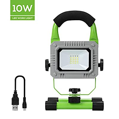 Cordless Work light, GALAX PRO 8W+2W Slim Rechargeable LED Portable Work Floodlight IP65 Waterproof Spotlightfor Indoor Workshop Garden Garage Use, Camping, Outdoor Fishing, Traveling Security Lights