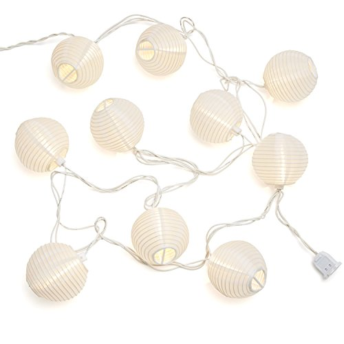 10 ft. White Outdoor String Light, 10 Mini Lanterns, 1 Plugin Strand, Connectable, Water Resistant, Indoor/Outdoor Use, Expandable to 240 Lights (Indoor Lantern Lights)