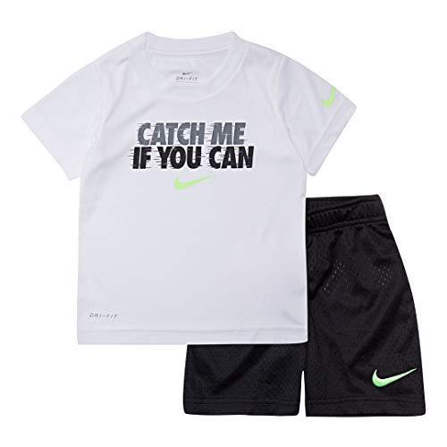 Nike Boy`s Dri-Fit T-Shirt & Shorts 2 Piece Set (Black(66E496-023)/White, 12 Months)