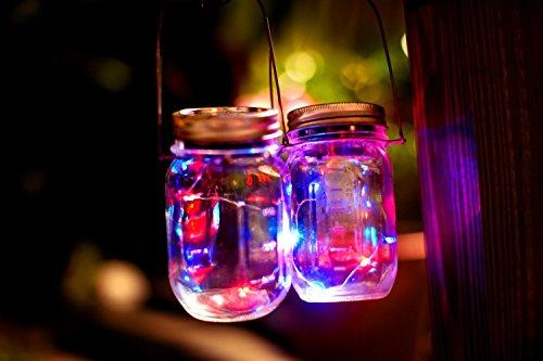 [Mason Jar Light 3 Pack - Solar 10 LED Color Changing Fairy Lights Lids Insert for Garden Decor Wedding Christmas Holiday Party Decorative Lighting Fit for Regular Mouth Jars (Multi Star)] (Terrace 3 Light Pendant)