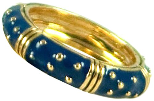 - ENAMEL RING WITH GOLD DOTS-STACKABLE (Blue/Navy, 7)