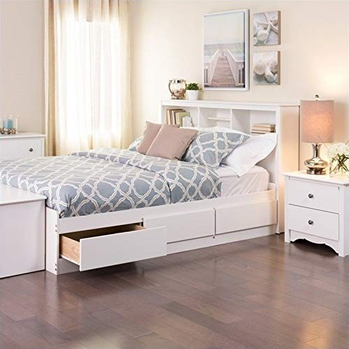 (Prepac Monterey White Double/Full Bookcase Platform Storage Bed )